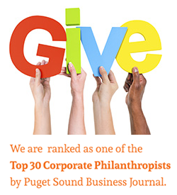Parker, Smith & Feek is ranked as one of the Top 30 Corporate Philanthropists by Puget Sound Business Journal.