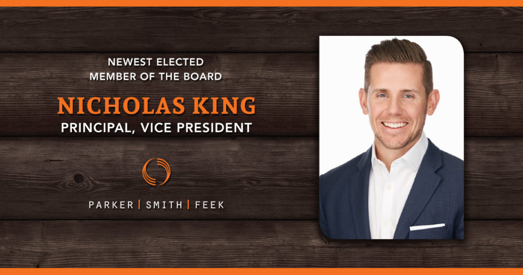 Congratulations to Principal, Vice President, and Account Executive Nicholas King on being elected to the Parker, Smith & Feek Board of Directors!
