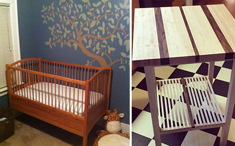 Two-part image, left-side : A crib sitting in a room with a hand-painted wall. Right-side : A custom-made wooden table.